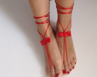 barefoot sandles, ribbon , red, wedding ,Bikini , Women , Beach , Bridal Sandals , Bridal Jewelry ,shoes , READY TO SHIP
