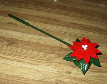 Candle Snuffer Christmas Poinsettia Dept 56 Red Green White Painted Metal Vintage