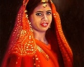 India Girl portrait 30x24 oils on canvas original painting by RUSTY RUST / 14229
