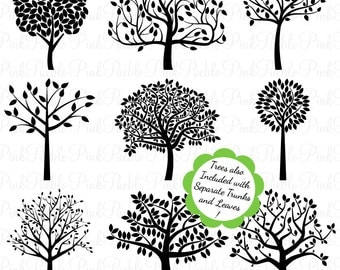 Tree Silhouettes Clipart Clip Art, Family Tree Clipart Clip Art - Commercial and Personal Use