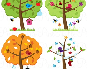 Four Seasons Trees Clipart Clip Art, Seasonal Trees and Birds Clipart Clip Art Vectors - Commercial and Personal Use