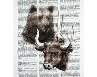 Bull and Bear Portrait on a Vintage Dictionary Page