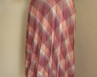 High Waisted Wool Plaid Pleated Skirt New Old Stock