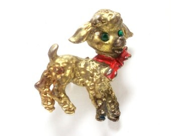1950- Lamb Brooch- Brass- Taiwan- Childrens- Rhinestones- Enamel Bow- Vintage Jewelry
