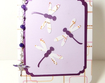Dragonfly Card- Zipper Pull Set- Embossed- Lined- Blank- Bag Tag- Amethyst- Handmade