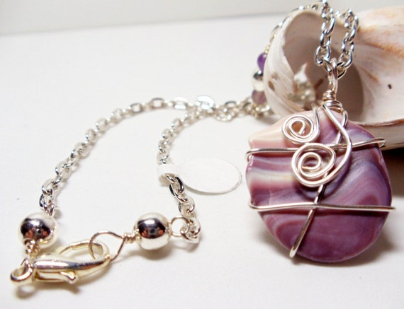 Shell Pendant- Amethyst- Quahog Clam Wire Wrapped Necklace- Wampum- Handmade Jewelry