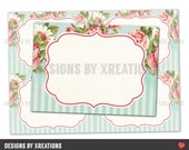 Shabby Tea Party Blank Buffet Sign, Notecards, ATC ACEO, Tag, Label, Printable