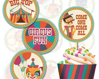 Vintage Circus Cupcake topper and wrap, I will customize for you, Print your own