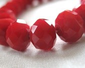 """SPECIAL - TWO STRANDS Opaque Bright Red Faceted Crystal Rondell Beads, 10mm x 8mm, two 10"""" strands, 70 pieces in total"""