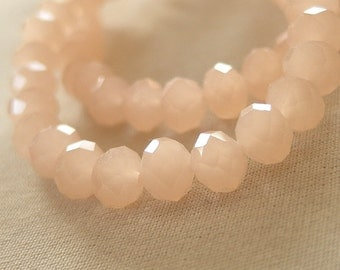 "Soft Peach Melon Semi Opaque Faceted Crystal Rondelle Beads, 6mm x 4mm, 8"" strand"
