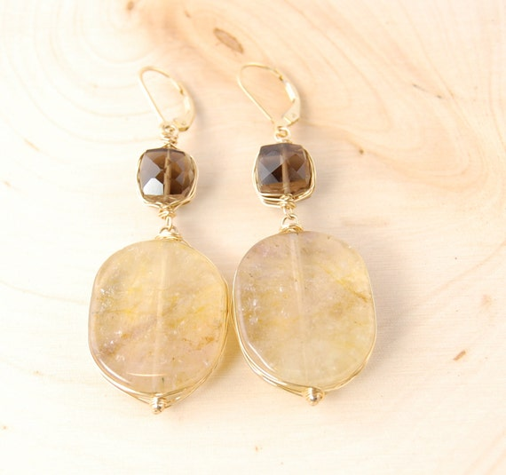 Smokey and Rutilated Quartz Stone Earrings