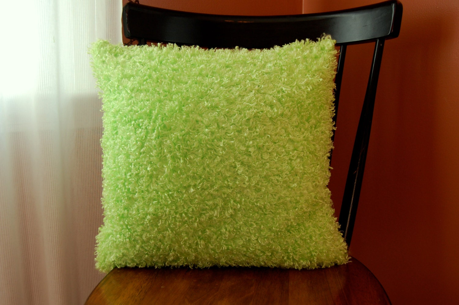 Fluffy Funky Green Pillow Decorative Super Soft Green Fuzzy