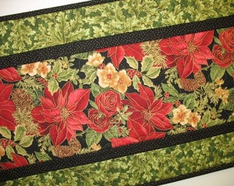 Christmas Table Runner Quilted Red Roses and Poinsiettias
