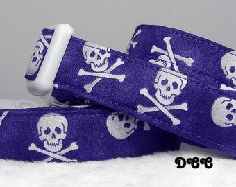 Dog Collar Purple background White SKULLS Bold Colors Skulls everyday Day wear Adjustable Dogs Collar D Ring Choose Size Accessory Pet Pets