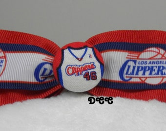 Dog Collar Los Angles Clippers NBA Basketball Fabric Ribbon Bow Tie CHOOSE SIZE Adjustable Collars D Ring Accessory Pet Pets Accessories