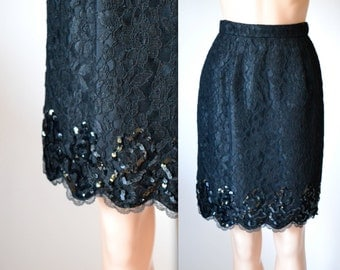 Vintage Black Lace Skirt with Sequins size Small // Balck Sequin Skirt Size Small by Lillie Rubin