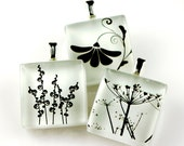 Black & White Flowers - Recycled Glass Photo Pendant Necklace