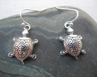 Silver Turtle Earrings - Turtle Jewelry - Simple Everyday Silver Earrings