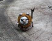 Tiny needle felted Ewok