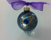 Hand Painted Peacock Feather on glass ornament