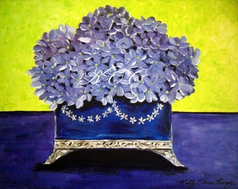 Fine Art Print of my Original Painting- Cobalt Box of Flowers