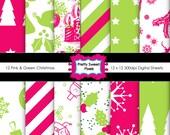 12 Pink & Green Design Sheets- digital paper pack,Scrapbook sheets,commercial use,scrapbooking papers, instant download.PSPDSP-054