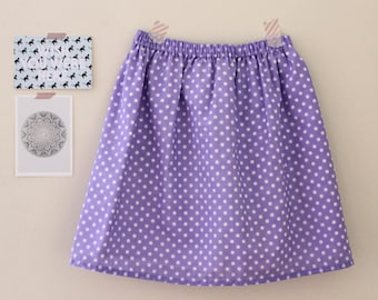 the Freddie -skirt (lilac and cream polka dots one size cotton print mini skirt with elastic waist)