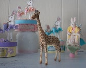 Spun Cotton Giraffe Vintage Like Easter Petite Handmade Ornament Decoration Christmas Feather Tree