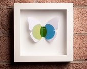 Serenity: Framed Paper Butterfly with Green & Blue Overlapping Circles
