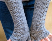 Knit Mitt Pattern:  Totally Cabled Long Fingerless Mitt Knitting Pattern