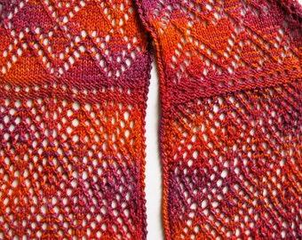 Knit Scarf - Stole - Shawl Pattern:  Sangria Scarf - Stole - Shawl Knitting Pattern