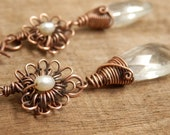 Copper and White Pearl Earrings with Crystal Drop, Bridal Earrings, Wire work, Pearl, Crystal, Boho earrings