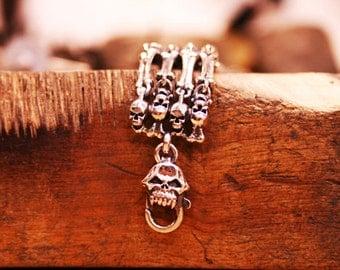 Sterling Silver Skull & Bone Bracelet