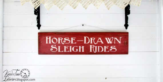 SLEIGH RIDES - Christmas Winter Painted Sign on Antique Salvaged Wood