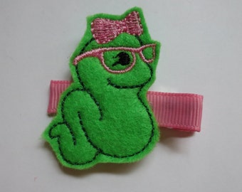 Back to School -  Bookworm Felt Embroidered Hair Clip - Clippie - Party Favor