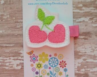 Hot Pink Cherries Hair Clip - Clippie - Party Favor - Feltie