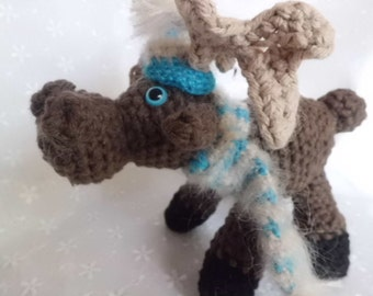Moose Amigurumi, Crocheted Moose, Amigurumi Moose, Waldorf Toy, Cabin or Chalet Decor, Soft Sculpture Moose, Birthday or Baby Shower Gift