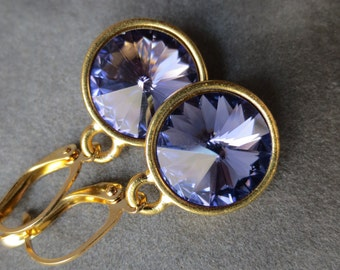 Tanzanite Jewelry, Gold December Birthstone Earrings, Dangles, Crystal Birthstone Jewelry, Purple Tanzanite Drop Earrings