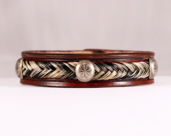 Horse Hair and Leather Bracelet - Hand Stamped Design with Braided Horsehair
