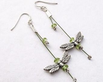 Green Birthstone Earrings, Gift for her, Peridot Dragonfly Jewelry, Modern Silver Earring, Long dangle earrings, Woodland wedding