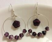 """Earrings - Czech Amethyst Beads - Amethyst Flowers - Silver Hoops """"Queen of Purple"""""""