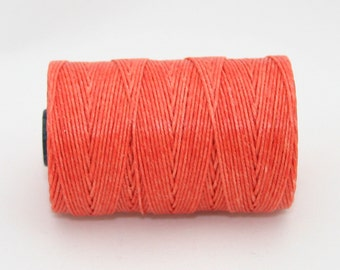 Waxed Irish Linen Thread Salmon Pink  Coral 4 Ply