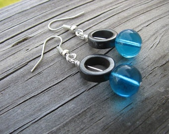 Turquoise Glass and Hematite Beaded Earrings