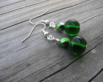 Emerald Green with Metallic Green Beaded Earrings