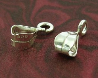 STERLING SILVER Bails - Classic Design - 10 Smooth and Sleek  - Simple Medium B5a