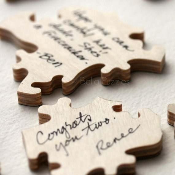 custom 120 piece wood puzzle wedding guest book by
