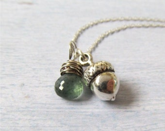 Acorn Necklace, Silver Acorn And Gemstone Necklace, Autumn Jewelry