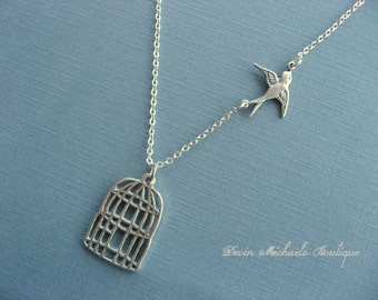 Graduation Necklace, Be Free Bird Necklace, Cage pendant, Bird Pendant Necklace, Silver Bird Cage Necklace, Silver Jewelry