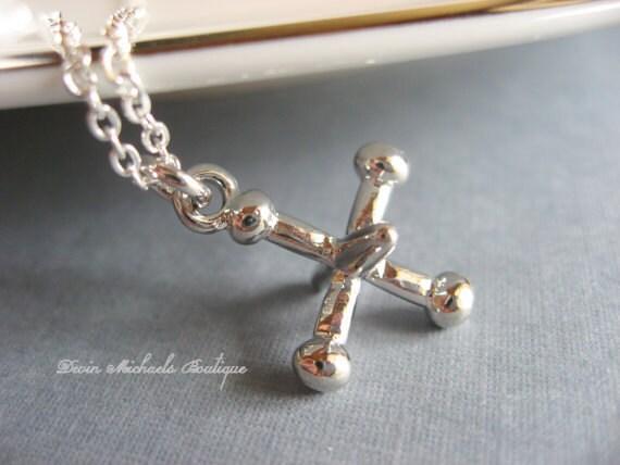 Silver Jacks Pendant, Jaxs Necklace, Silver Necklace