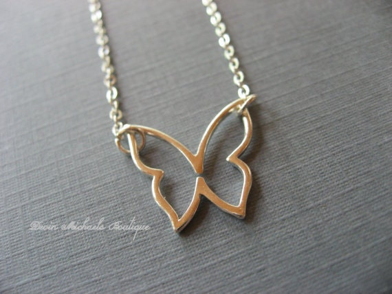 Silver Butterfly Necklace, Silver Pendant, Choker, Very Dainty